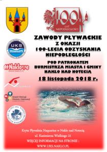 Już za 2 dni rozpoczną się zawody pływackie z okazji 100-lecia Odzyskania Niepodległości pod Patronatem Burmistrza Miasta i Gminy Nakło nad Notecią !