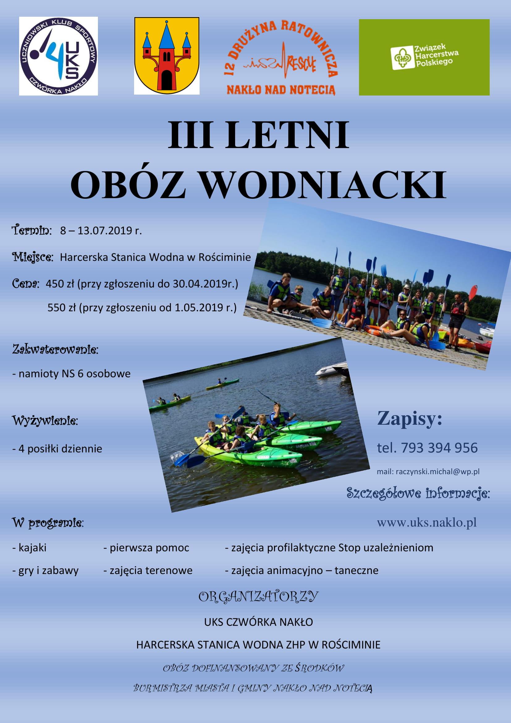 Zapisy na Obóz Wodniacki 2019